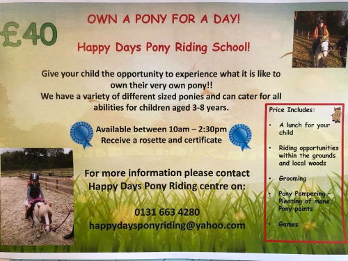 Happy Days Pony Riding School Own a Pony for a Day